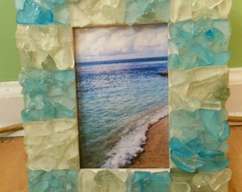 Beach Decor Sea glass Picture Frame - Sea Glass Frame - Picture Frame - Coastal Frame