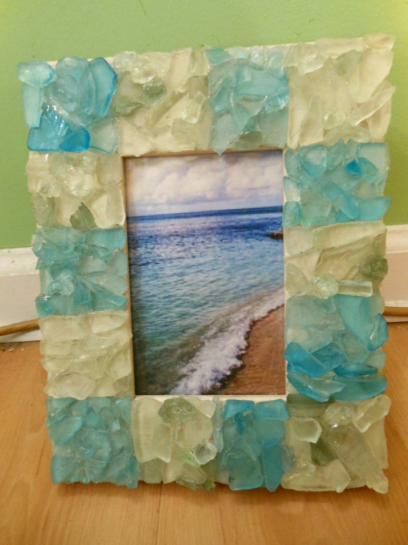Beach Decor Sea Glass Picture Frame Sea Glass Frame