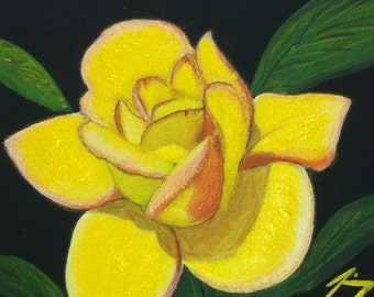 Single Yellow Rose  - Original 8 X 10 Painting - Last 2 days at this SALE price