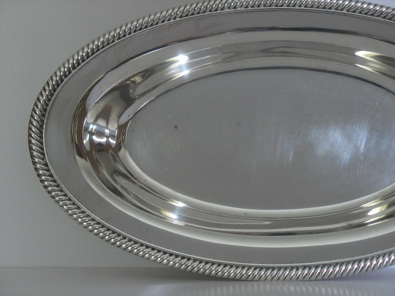 Wm Rogers Silver Tray with Rope Rim
