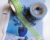 Set of two rolls washi / masking tape in green and blue
