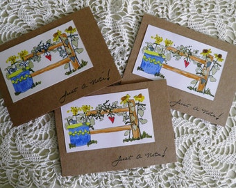 Note Cards, Just a Note, Set of Three, Teacher Gift, Garden Flowers, Thinking of You, Happy Birthday, Get Well, Missing You, Handmade