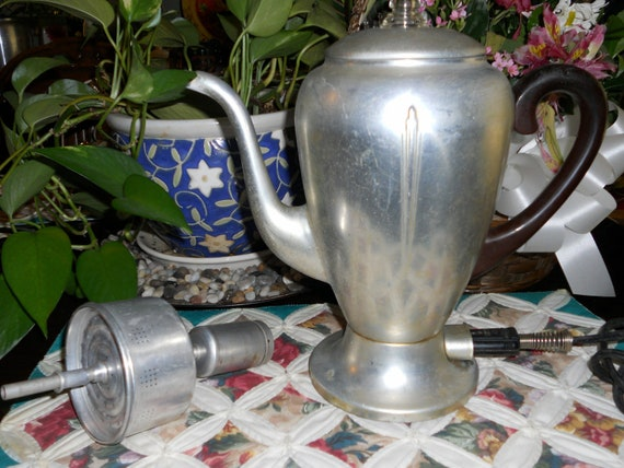Vintage Aluminum Mirror-Matic Electric Coffee Percolator, 8 Cups (Still Makes Perfect Perked Coffee)