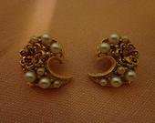 Yellow paisley clip earrings