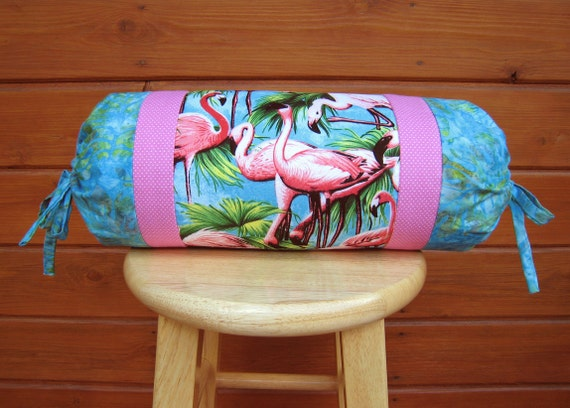 "Flamingo neck roll pillow cover pink flamingos and blue batik 6""x14"" bolster pillow cover"