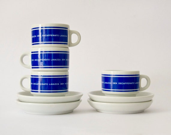 Original Lavazza coffee cups set of four blue white 1960