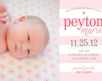 Baby Girl Birth Announcement - 5x7 Printable