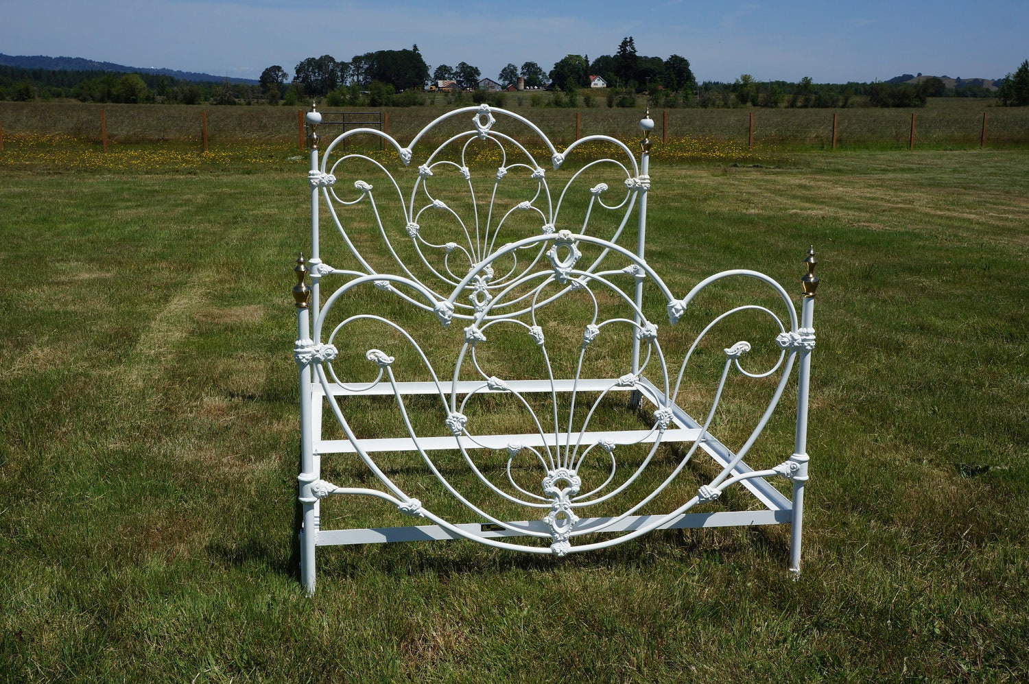 Omg Shabby Cottage Chic White Wrought Iron Jb Ross Queen Bed