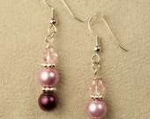 Pink & Burgundy Beaded Earrings