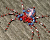 Spider pin brooch or pendant hand made with beads, costume jewelry, Halloween jewelry, insect jewellery, beaded spider