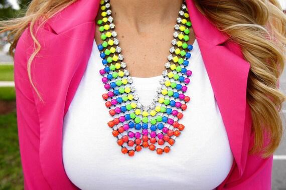 CUSTOM Huge Rhinestone Bib Statement Necklace - Belle de Couture