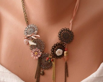 Brown and Salmon Necklace with Bird - Flower - Beads and Chain - Speacial Handmade Design