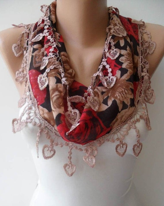 New - Light Brown and Red Scarf with Trim Edge - Summer Colors - New