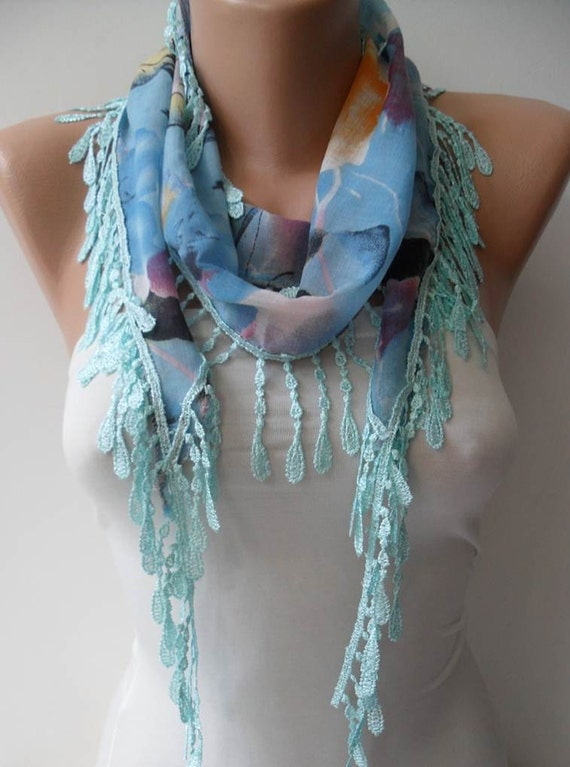 New - Blue Flowered Scarf with Blue Trim Edge - Summer Colors - New