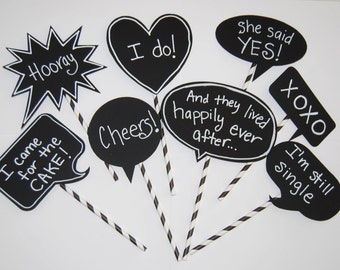 8 Chalkboard Photo Booth Props Speech Bubbles Chalk Board message Signs  and 8 straws - Party Photo Decorations wedding shower parties