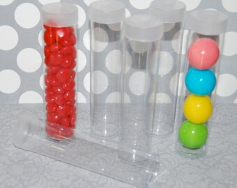 "Clear plastic tubes with caps - short tubes 4.5""x1"" - Qty 10 - use for storage - party & shower favors - 1"" gumball tubes - quick easy gifts"