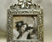 Victorian Style Bejeweled Angelica Silver Frame Ornament