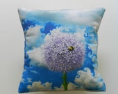 Purple Flower and Bee Decorative Throw Pillow