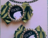 "SPOOKY GHOSTS Set of 2.5"" Green & Black Zebra Hair Bows"