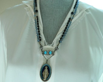 SALE use coupon code Spring10 for 10% OFF Rosary Miraculous Medal Assemblage Necklace