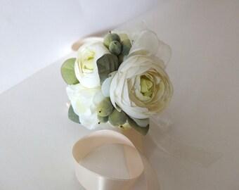Wrist corsage, Elegant Ivory Ranunculus Wrist Corsage, wedding corsage,