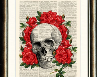 Vintage Image Skull with Red Roses Steampunk - printed on an Upcycled late 1800s Dictionary page Buy 3 get 1 FREE