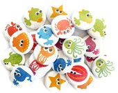 Ocean Animal Buttons - Set of 24 Pinback Buttons - Kids Summer Buttons or Party Favors