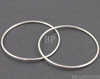 Sterling Silver Extra Large Round Circle Link Elegant Modern Simple Lovely Jewelry Component Finding, 1 Piece,  (SS/697/37)