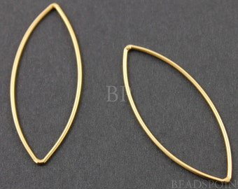24K Gold Vermeil over Sterling Silver Open Marquis Link Elegant Modern Shape Jewelry Component Finding, 1 PIECE (VM/695/15x37)