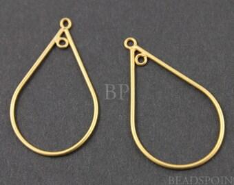24K Gold Vermeil Over  Sterling Silver Teardrop Shape Open Chandelier Finding w/ Inside Ring, Components for Earrings, 1 PAIR (VM/710/20x30)