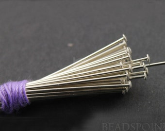 Sterling Silver 1 inch Head Pin 26 GA - 1 mm Head Diameter, 1 Pack of 100 Pieces,  (SS/H26/100)