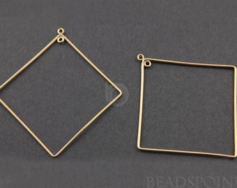 Gold Filled Diamond Shape 48mm Hoop Chandelier Finding w/ Inside Ring,  Lovely  Components for Earrings, 1 PAIR (GF/705/41)