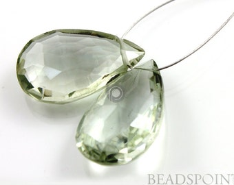 Natural ''NO TREATMENT'' Green Amethyst Micro Faceted Pear Drops, AAA Quality Gemstones 23x15mm, 1 Pair, (GAM23x15PR)