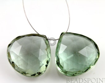 Natural ''NO TREATMENT'' Green Amethyst Micro Faceted Heart Drops, AAA Quality Gemstones 17x17mm, 1 Pair, (GAM17x17PR)