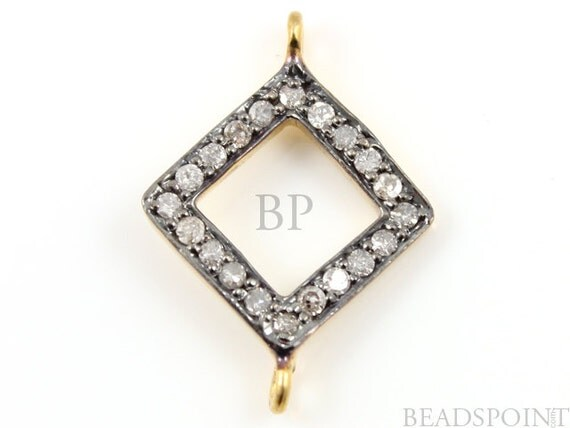 Pave Diamond Connector, Pave Square Connector, Diamond Square Connector, Pave Connector, Gold Plated over Silver, Size 16mm. (DF/DC3)