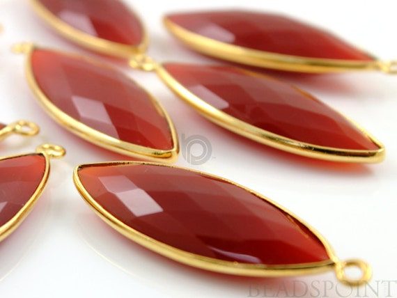 Natural Carnelian, Bezel Marquise Shape Gemstone Component, Gold Vermeil,,  14x32mm 1 Piece, (BZC7203)