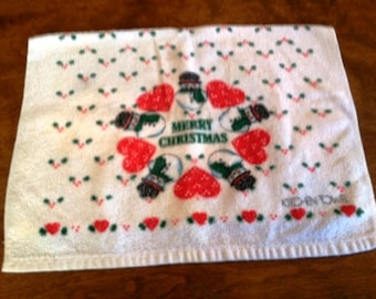 Vintage Christmas Hand Towel Retro 1950s Design