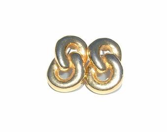 1980s Glittering  Link Chain Pierced Earrings
