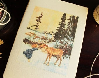 Winter Set of Cards Vintage Girl Kissing Moose 6 Pack Personalize for Free