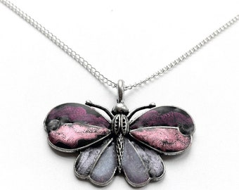 Silver Butterfly Necklace, Customizable Color, Nature Inspired Jewelry, Purple Butterfly Pendant, Gifts for Mom