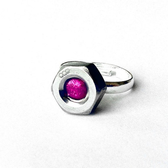 Hot Pink Nut Ring Stainless, Hex Nut Ring, Adjustable Womens Silver Ring, Stainless Steel Ring, Hot Pink Ring, industrial Silver Ring