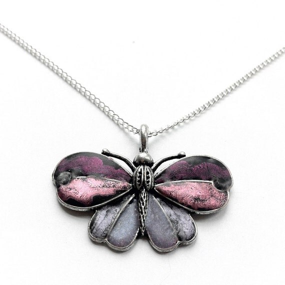 Purple Butterfly Necklace, Pink Butterfly Pendant, Silver Jewelry, Silver Butterfly Pendant Necklace, Butterfly Jewelry, Butterflies