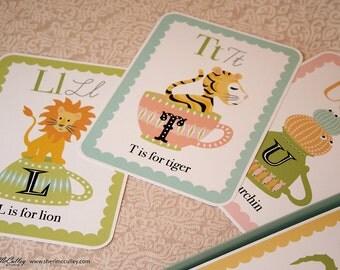Alphabet, ABC, Animal, Teacups, Alphabet Card Set: ABC Set - In a Little Teacup Animals