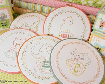 "ABC Hand Embroidery Patterns, ABC Embroidery Patterns, Alphabet Embroidery Patterns PDF - 26 ""In A Little Teacup"" Animal Alphabet Patterns"