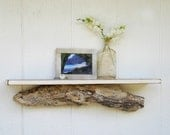 """HOLD - for Jill - distressed driftwood shelf - 24"""" off-white beach shelf with reclaimed wood shelf and driftwood accent"""