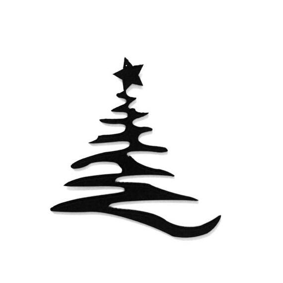 Items similar to modern christmas tree with star metal art