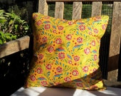 "CLEARANCE 40% OFF Yellow Floral/Bird Cotton Pillow Cover - 16"" x 16"""