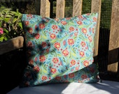 "CLEARANCE 40% OFF Blue Floral/Bird Cotton Pillow Cover - 16"" x 16"""