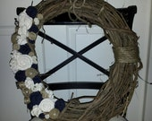 Custom Listing for Chong Hwa: 18-Inch Wreath with Burlap Twine Felt and Pearl Accents