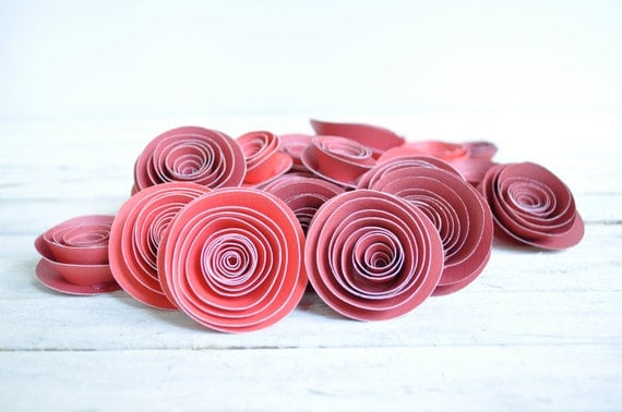 Red Paper Flowers  Set of 25 Flowers